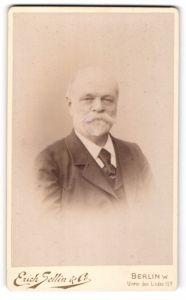 Fotografie Erich Sellin & Co, Berlin W., Portrait älterer Herr mit Vollbart und Krawatte im Anzug