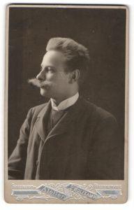 Fotografie P. Wolfkamp, Friedeberg N/M, Profilportrait junger Herr mit imposantem Schnauzbart