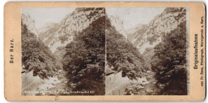 Stereo-Fotografie Fr. Rose, Wernigerode, Ansicht Thale, Bodethalpartie mit Jungfernbrücke