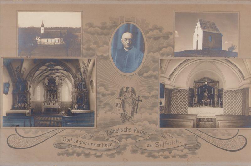Fotografie Fotograf unbekannt, Ansicht Sufferloh, Kapelle & Kath. Kirche, Aussen - & Innenansicht, Priester Portrait
