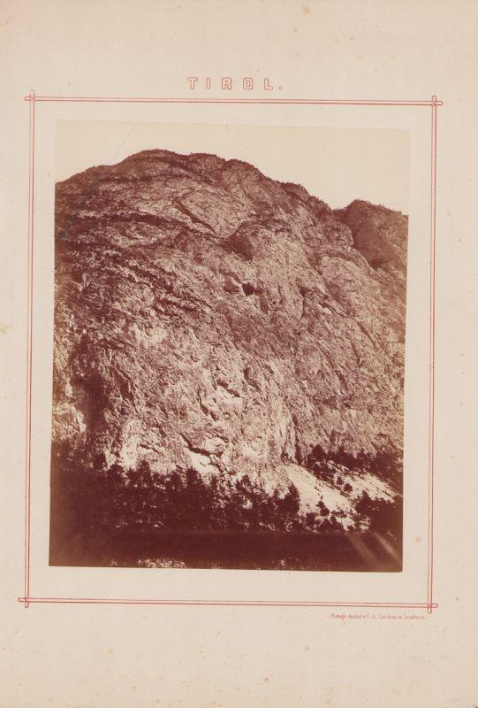 Fotografie C.A. Czichna, Innsbruck, Ansicht Martinswand / Tirol, Gebirgsmassiv in Tirol, Grossformat 25 x 20cm