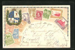 Präge-AK verschieden farbige Briefmakren aus Uruguay mit Wappen