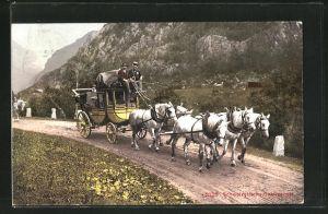 AK Postkutsche mit fünf Pferden in den Schweizer Alpen