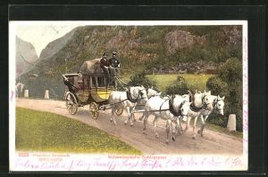AK Schweizerische Gebirgspost mit fünf Pferden