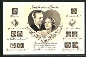 AK Briefmarkensprache, verliebtes Paar in Herz mit Briefmarkensprüchen Ich komme, Bist Du mir auch treu