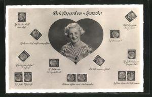 AK Briefmarkensprache, junge Dame in Herz mit Briefmarken Sprüchen, Ich habe von Dir geträumt