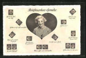 AK Briefmarkensprache, Frau in Herz mit Briefmarkensprüchen Ich denke fest an Dich