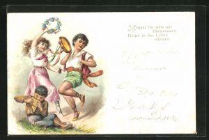 Lithographie Junge mit Tamborine und mit Panflöte, Mädchen tanzt mit Blumenkranz