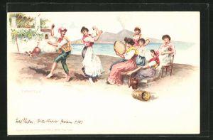 Lithographie Frau und Mann tanzen auf Platz vor Publikum, Meer und Berge, Tarantella