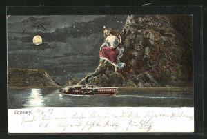 AK Loreley, Frau mit Laute auf einem Felsen