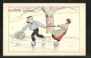 AK Mulhouse, Junge und Mädchen in Holzschuhen auf dem Eis