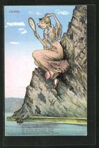 AK Loreley, Frau mit Handspiegel und Kamm auf einem Felsen