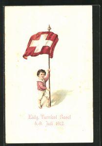 AK Basel, Eidgen. Turnfest Juli 1912, kleiner Bub mit Fahne