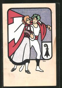 Künstler-AK Karl Dubs: Basel, 56. Eidgen. Turnfest 1912