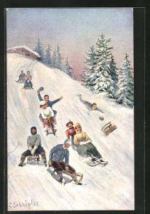 Künstler-AK L. Schröpler: Schlittenabfahrt, Rodeln, Wintersport