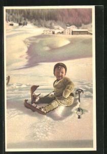 AK Kind mit Skiern im Schnee
