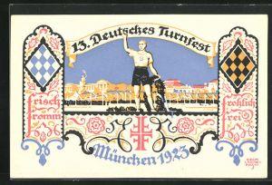 Künstler-AK Siegmund von Suchodolski: München, 13. Deutsches Turnfest 1923