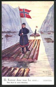 Künstler-AK Em. Dupuis: Norvège, They float in every direction, Flösser in Norwegen