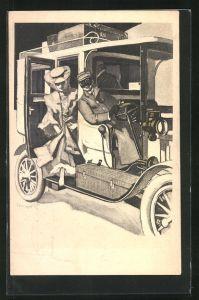 Künstler-AK Ferdinand von Reznicek: Simplicissimus, Dame steigt aus Auto mit Chauffeur