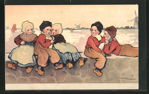 Künstler-AK Ethel Parkinson: niederländische Kinder in Tracht am Wasser
