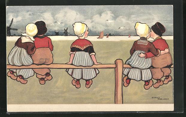 Künstler-AK Ethel Parkinson: niederländische Kinder in Tracht auf Zaun sitzend