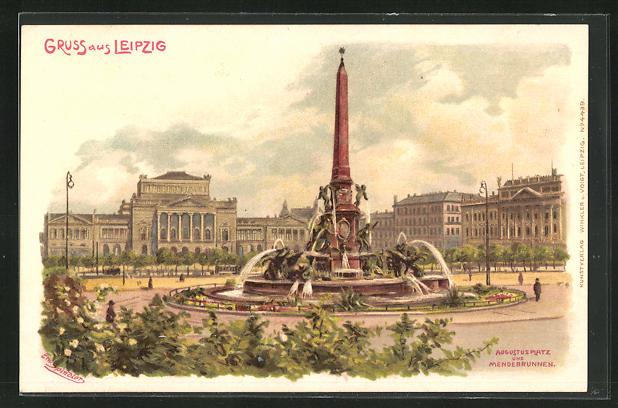 Künstler-AK Erwin Spindler: Leipzig, Augustusplatz und Mendebrunnen