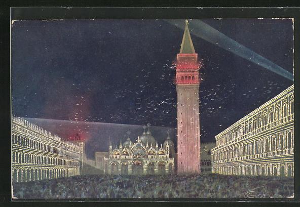 Künstler-AK G. Guerzoni: Venezia / Venedig, Piazza S. Marco illuminata, Motiv mit Turm