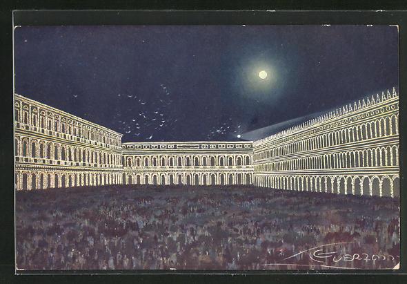 Künstler-AK G. Guerzoni: Venezia / Venedig, Piazza S. Marco illuminata