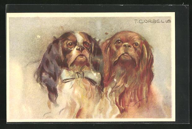 Künstler-AK Tito Corbella: zwei Pekinesen