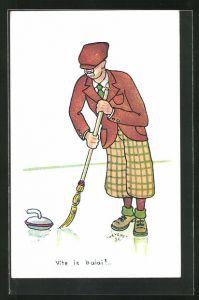 Künstler-AK sign. Thevenet: Curling, Mann mit Besen auf dem Eis, Wintersport