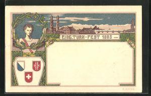 AK Zürich, Turnfest 1903, Turner mit Siegerkranz in der Hand, Wappen, Ortsansicht