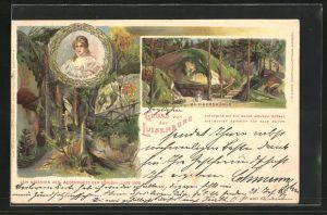 Lithographie Wunsiedel, Königin Luise von Preussen, Portrait, Blick zur Klingershöhle