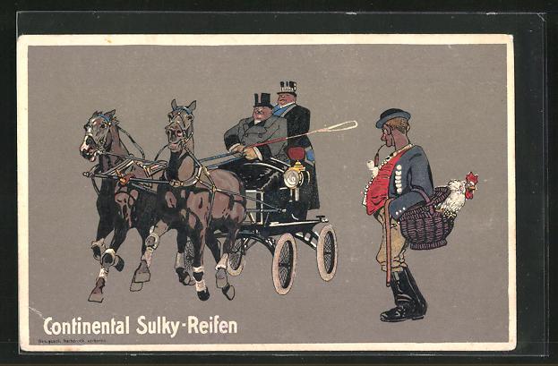 AK Bauer beobachtet eine Kutsche mit Continental Sulky-Reifen, Reklame