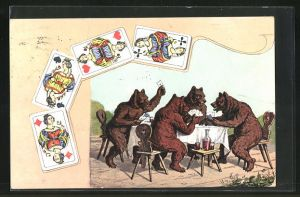 AK Bären beim Kartenspiel