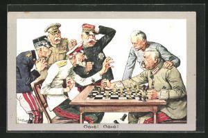 Künstler-AK Theo Zasche: Paul von Hindenburg bietet dem Feind Schach