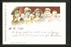 Künstler-AK Meggendorfer Blätter Nr. 13: Fünf Kinder verschiedener Altersstufen