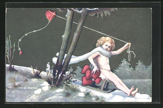 Künstler-AK Charles Scolik: Nackedei auf einem Schlitten mit Herz-Drachen