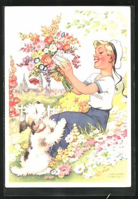 Künstler-AK Ilse Wende-Lungershausen: Blendax-Max mit Hund und Blumenstrauss