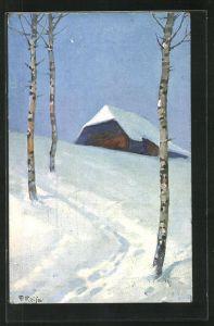 Künstler-AK Fritz Reiss: Winter im Schwarzwald