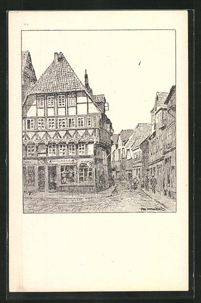 Künstler-AK Otto Ubbelohde: Hameln, Blick in die Emmernstrasse
