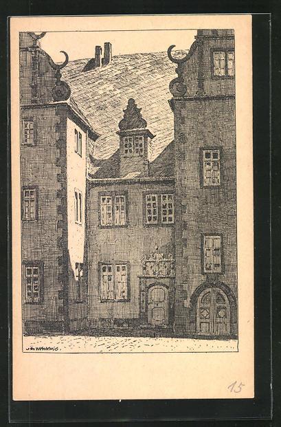 Künstler-AK Otto Ubbelohde: Friedberg i. Hessen, Schloss
