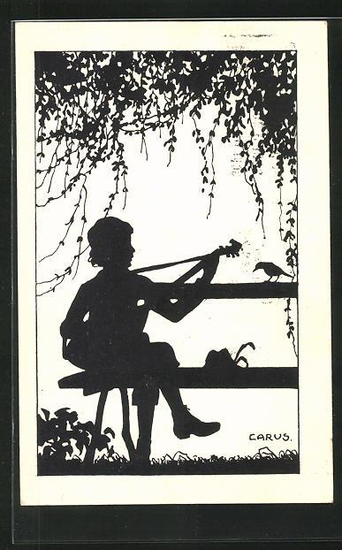 Künstler-AK Carus: junger Musikant und Vogel, Schattenbild