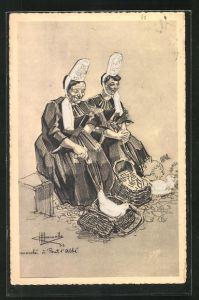 Künstler-AK Charles Homualk: Types et Costumes de France, Pont-l`Abbé, Tracht