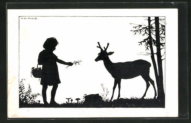 Künstler-AK Carus: Schattenbild, Kind füttert Reh