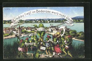 AK Lindau / Bodensee, Frösche mit Musikinstrumenten spielen auf Hügel vor Lindau und dem Bodensee