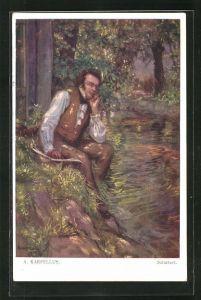 Künstler-AK Adolf Karpellus: Schubert im Wald am Ufer sitzend