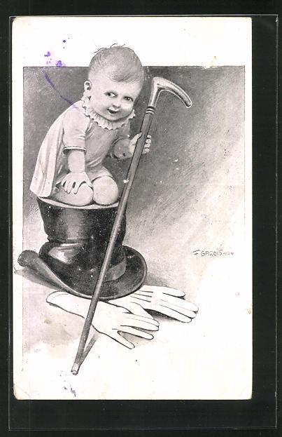 Künstler-AK F. Gareis: Kleinkind mit Stock auf einem Zylinder kniend