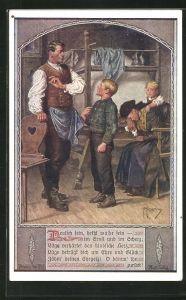 Künstler-AK Franz Kuderna: Deutscher Schulverein Nr. 802: Bub vor seinem Vater in der Stube mit Mutter u. Schwester