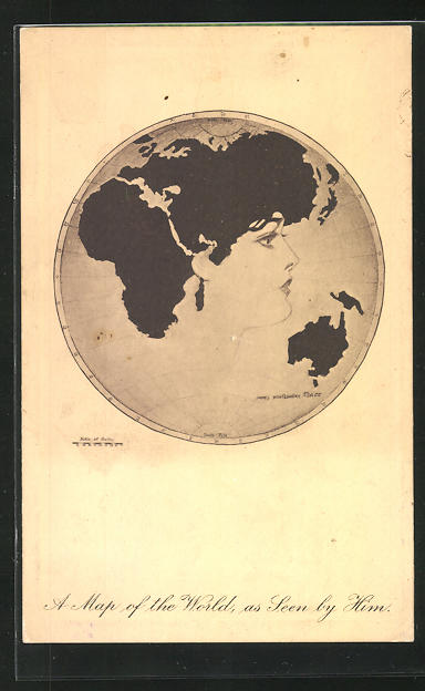 Künstler-AK James Henderson + Sons: A Map of the World, as Seen by Him
