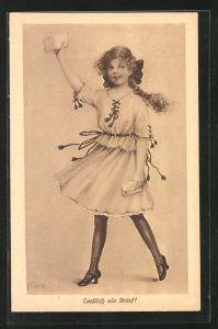 Künstler-AK Elly Frank: Endlich ein Brief, Mädchen mit Flechtzopf hält einen Brief in der Hand